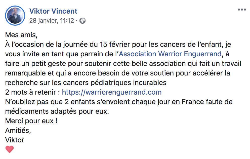 Viktor Vincent lance un appel aux dons sur Facebook